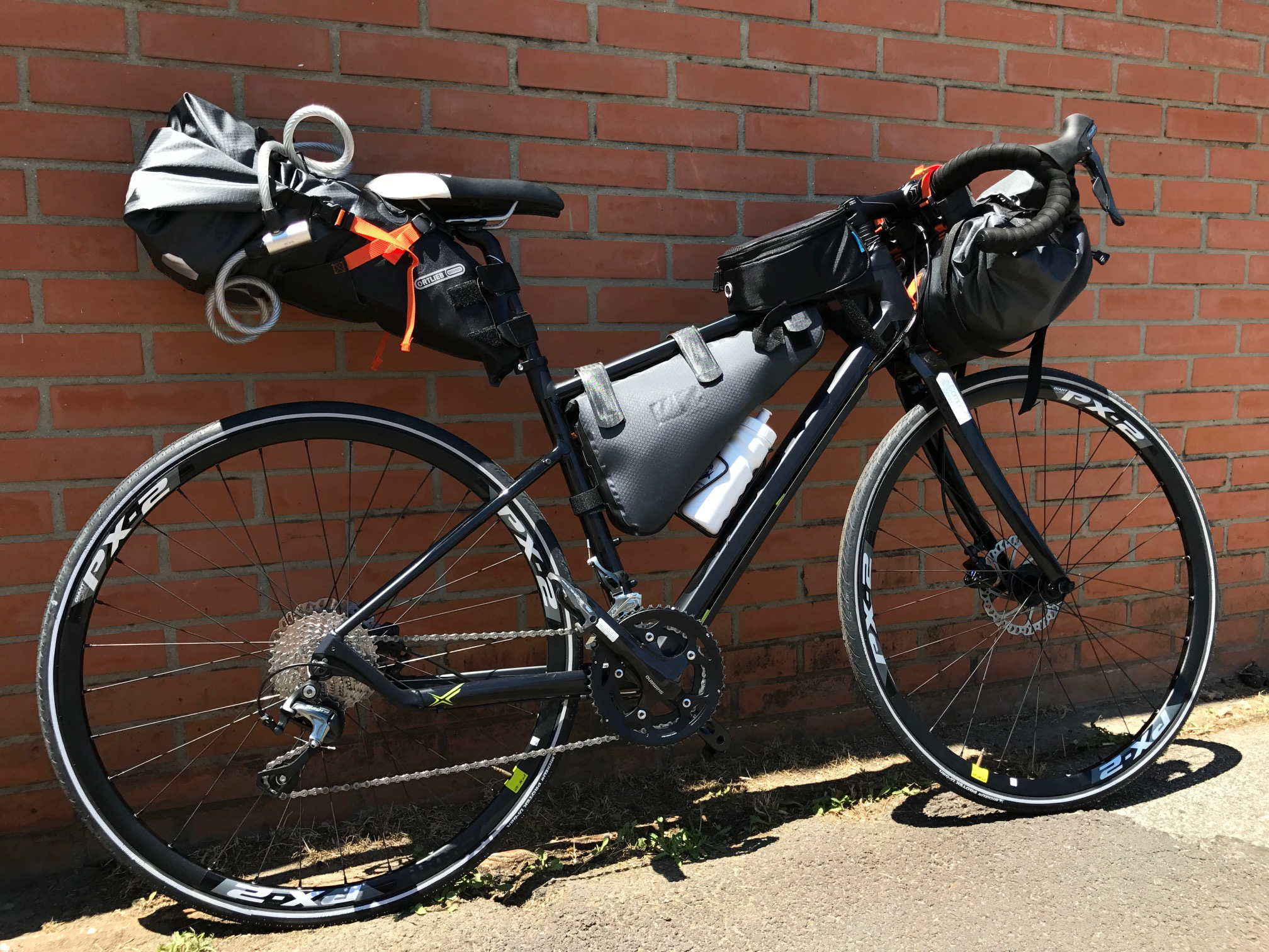 Our Gravel bike full ORTLIEB bags equipped is ready to start for a Toscana ride