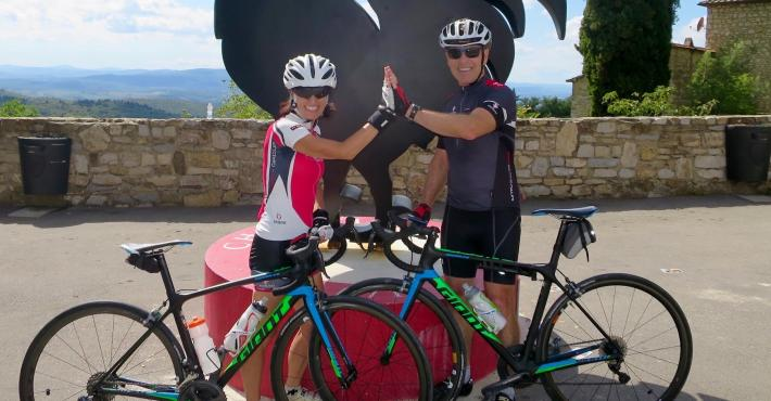 Mr.&Ms. Fortin from Canada enjoying Toscana by road bike...