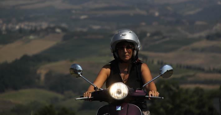 vespa riding in Tuscany